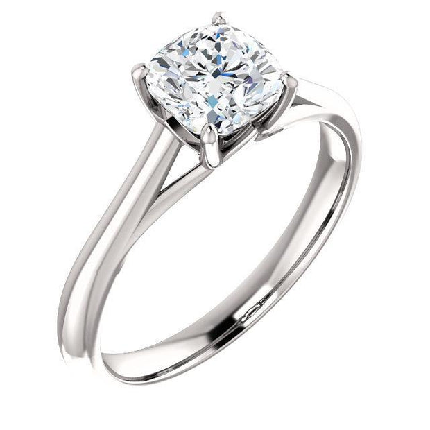 Giacobbe & Company 3.5 / 6MM ULTRA PREMIUM Cushion Moissanite Four Prong Solitaire Engagement Ring in 14k White Gold