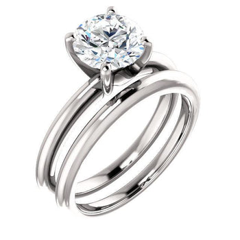 Giacobbe & Company 4 / 14K White Gold / 1/2ctw Tiffany-Style Solitaire Round Cut Engagement Ring