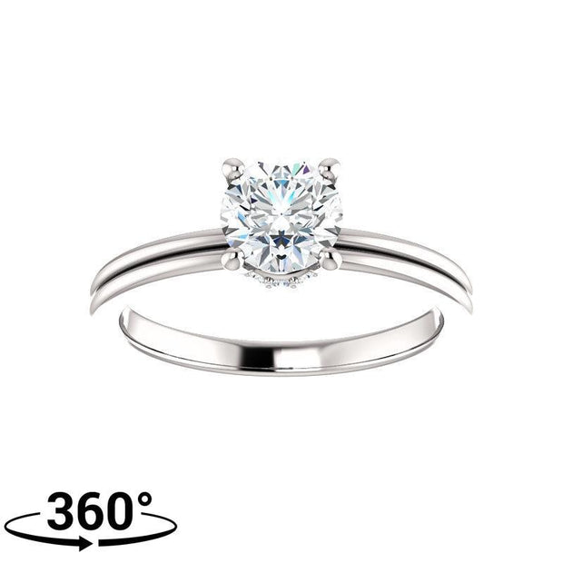 Giacobbe & Company 7/8 Carat Round Cut Accented Four Prong Engagement Ring in 14K White Gold