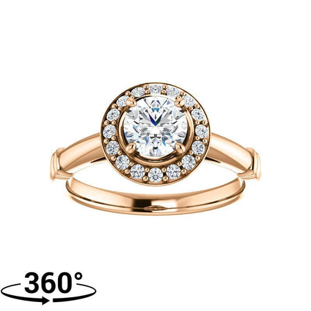 Giacobbe & Company .80 Carat Round Halo-Stlye Engagement Ring in 14K Rose Gold