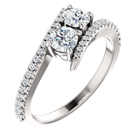 Giacobbe & Company BYPASS TWO STONE  DIAMOND RING IN 14K WHITE GOLD