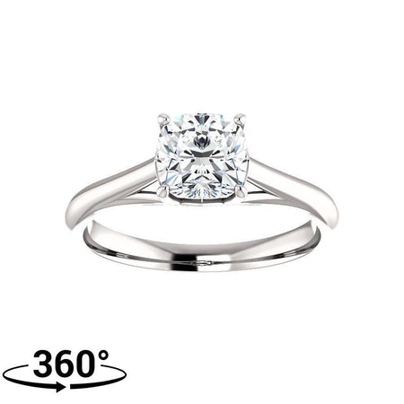 Giacobbe & Company Cushion Moissanite Four Prong Solitaire Engagement Ring in 14k White Gold