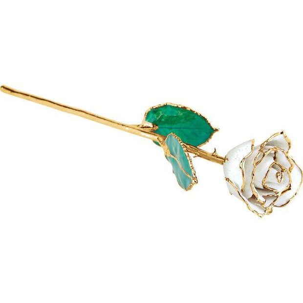 Giacobbe & Company Lacquered April Diamond Colored Rose with Gold Trim