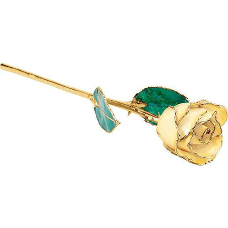 Giacobbe & Company Lacquered Cream Yellow Rose with Gold Trim