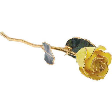 Giacobbe & Company Lacquered Yellow Rose With Gold Trim