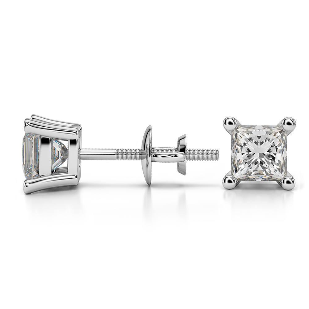 diamond cut sizes pin basket other earrings princess square prong white gold solitaire studs setting solid stud