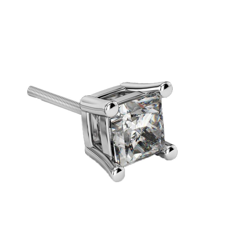 diamond square studs fashion stud princess earrings gemstone polished cut white gold