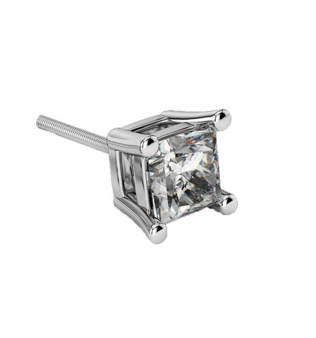 Giacobbe & Company PLATINUM 1.00 CT PRINCESS CUT VS2-SI1 G-H SCREW-BACK SINGLE DIAMOND STUD EARRINGS