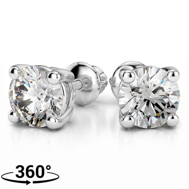 platinum claw stud earrings diamond alpha classic round plat