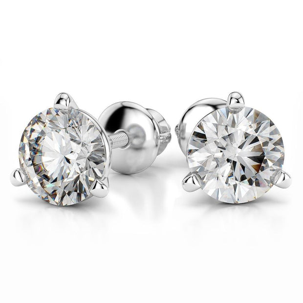 Giacobbe & Company PLATINUM ROUND 1/2CTW VVS2-VS1 E-F SCREW-BACK MARTINI DIAMOND STUD EARRINGS