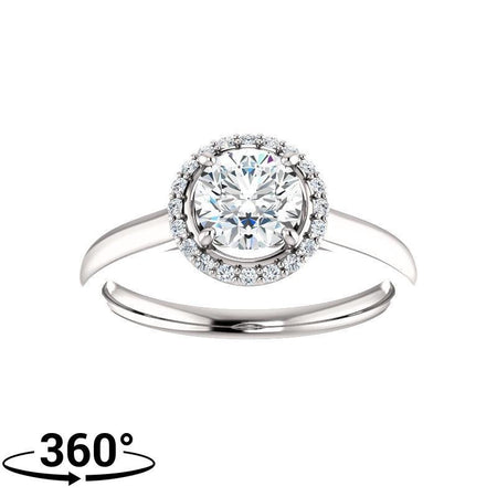 Giacobbe & Company Round Moissanite Classic Halo Engagement Ring in 14K White Gold
