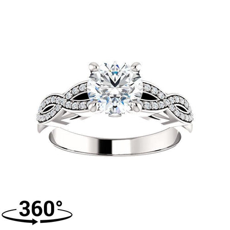 Giacobbe & Company Round Moissanite Infinity Inspired Engagement Ring in 14K White Gold
