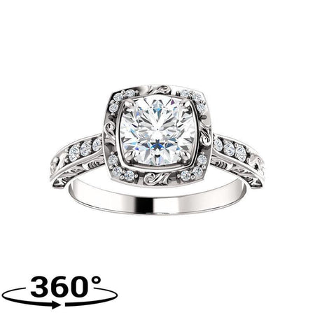 Giacobbe & Company Round Moissanite Sculptural-Inspired Halo-Style Engagement Ring in 14K White Gold