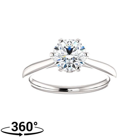 Giacobbe & Company Round Moissanite Six Prong Crown Engagement Ring in 14K White Gold