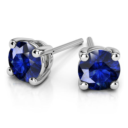 Giacobbe & Company White Gold 18K GOLD BLUE SAPPHIRE STUD EARRINGS (5MM)