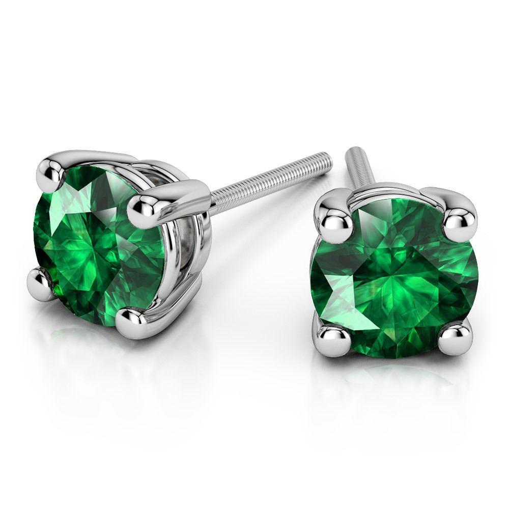 green earrings gold stud sterling earring women flower wg emerald silver in with jewelry nl diamond
