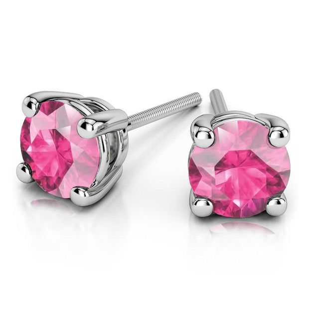 Giacobbe & Company White Gold 18K GOLD PINK SAPPHIRE STUD EARRINGS (6MM)