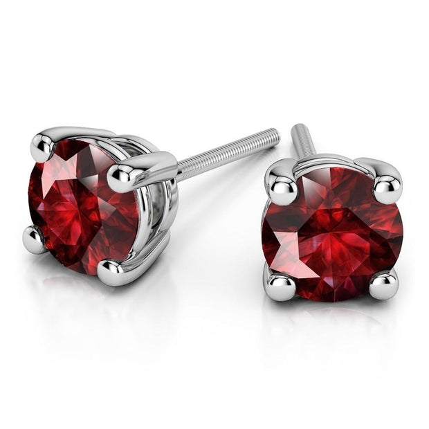 Giacobbe & Company White Gold 18K GOLD RUBY STUD EARRINGS (6MM)