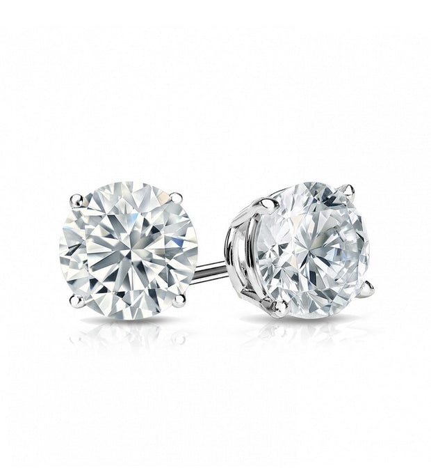Giacobbe & Company White Gold 18K WHITE GOLD ROUND 1CTW VS2-SI1 G-H BASKET DIAMOND STUD EARRINGS