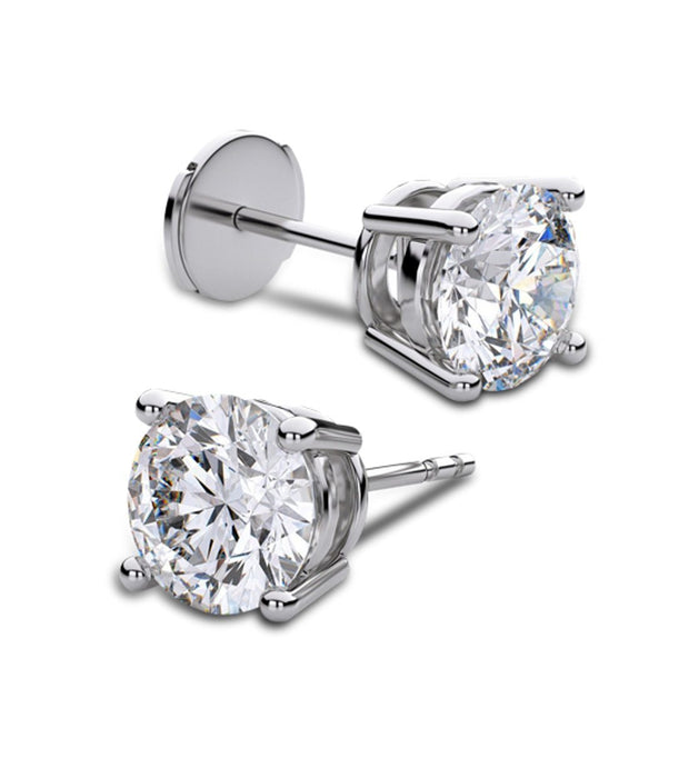 Giacobbe & Company White Gold 18K WHITE GOLD ROUND 1CTW VS2-SI1 G-H FOUR-PRONG LOCKING-BACK DIAMOND STUD EARRINGS