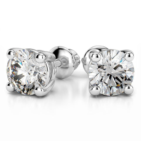 Giacobbe & Company White Gold 18K WHITE GOLD ROUND 2.00CTW VS2-SI1 G-H SCREW-BACK DIAMOND STUD EARRINGS