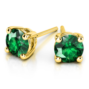 Giacobbe & Company Yellow Gold 18K GOLD EMERALD STUD EARRINGS (6MM)
