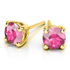 Giacobbe & Company Yellow Gold 18K GOLD PINK SAPPHIRE STUD EARRINGS (6MM)
