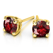 Giacobbe & Company Yellow Gold 18K GOLD RUBY STUD EARRINGS (5MM)