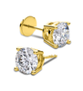Giacobbe & Company Yellow Gold 18K WHITE GOLD ROUND 1CTW VS2-SI1 G-H FOUR-PRONG LOCKING-BACK DIAMOND STUD EARRINGS