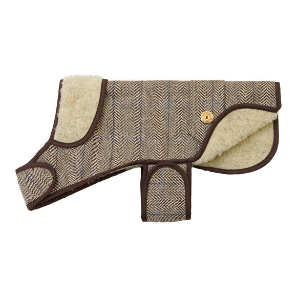 EARTHBOUND English Tweed Sherpa Dog Coat