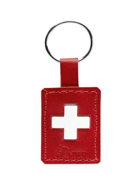 Swiss Cross Leather Key Ring