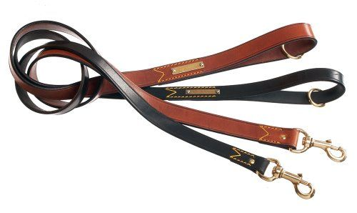 OVERSTOCK La Cinopelca Classic Italian Leather 4' Classic Leash Black