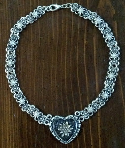 Rustic Pewter Edelweiss Link Necklace & Bracelets