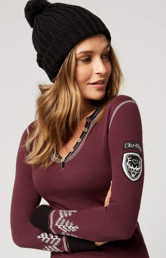 Alp N Rock Winter Luxe Henley - Port