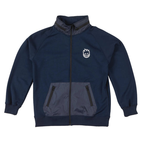 Spitfire Wheels Navy Bighead Logo Hombre Fleece Jacket available at No-Comply Skate Shop in Austin, TX