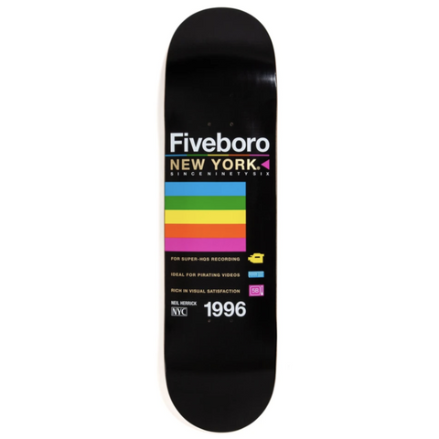 5Boro Skateboards Neil Herrick VHS Deck 8.25