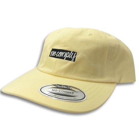 No-Comply Script Box Logo Dad Hat - Yellow