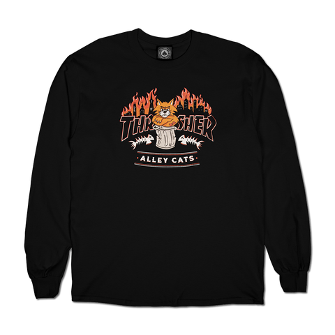 Thrasher Magazine Alley Cats L/S Shirt - Black