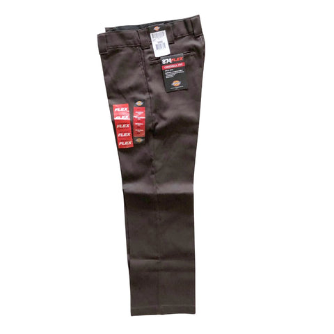 Dickies Dark Brown Original Flex 874 Work Pants available at No-Comply Skate Shop in Austin, TX