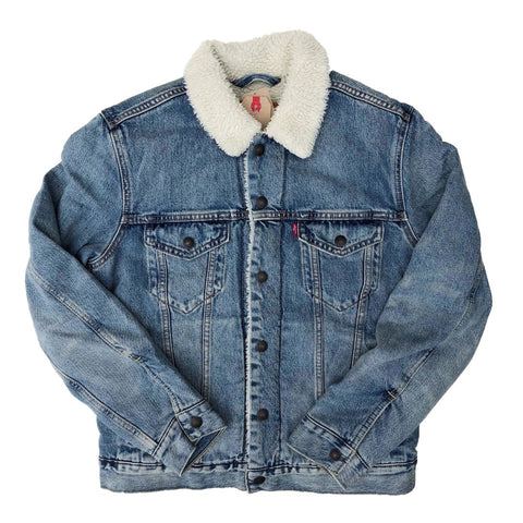 Levi's Shepra Trucker Jacket Blue Denim available at No-Comply Skate Shop in Austin, TX