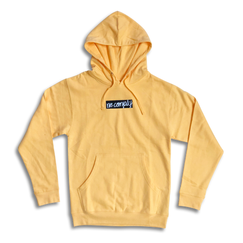 No-Comply Script Box Pull Over Hoodie Peach