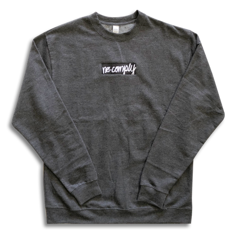 No-Comply Embroidere Script Box Crewneck Sweater - Gunmetal Grey