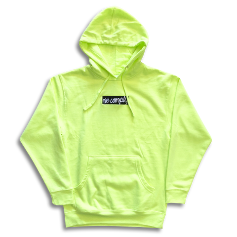 No-Comply Embroidered Script Box Pull Over Hoodie - Safety Green