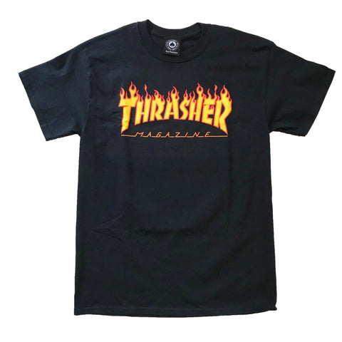 Thrasher Magazine Flame Logo Shirt Black available at No-Comply Skate Shop in Austin, TX