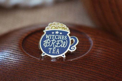 Witches Brew Tea Enamel Pin; Clutch back fastener