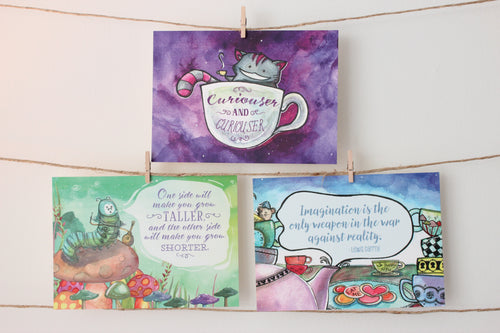Alice in Wonderland Quote Card Print Set