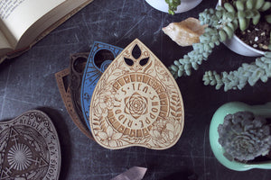Wooden Planchette Coaster - Floral Design in Birch