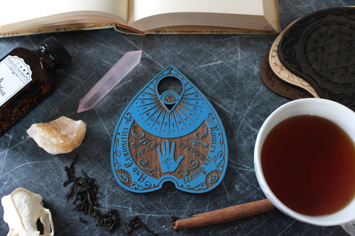 Wooden Planchette Coaster - Fortune Design in Blue