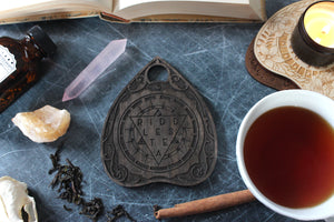 Wooden Planchette Coaster - Elegant Design in Ebony
