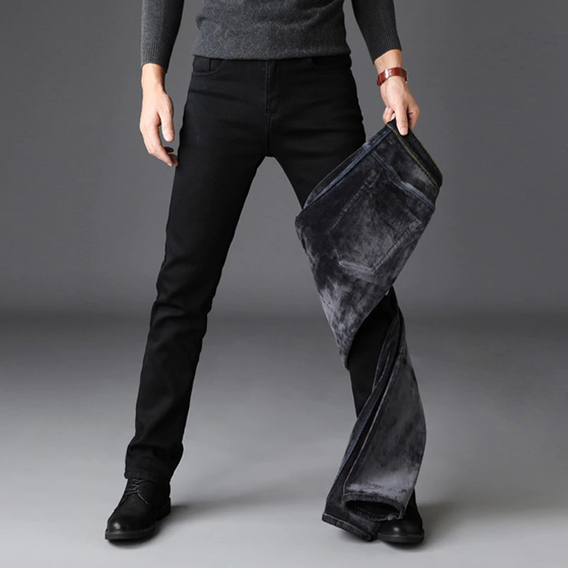 Men's Black Warm Jeans